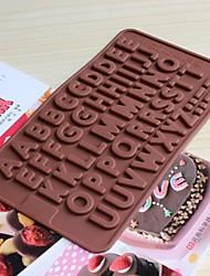 bakeware silicone moldes Inglês alfabeto de cozimento para o chocolate (cores aleatórias)