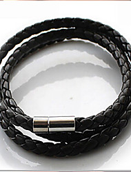 cheap -Men's Plaited Wrap Bracelet - Leather Basic, Fashion Bracelet White / Black / Coffee For Daily / Casual / Sports