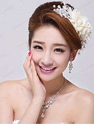 Crystal Imitation Pearl Lace Fabric Alloy Flowers Headpiece