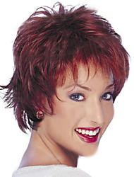 abordables -Perruque Synthétique Droit Coupe Dégradée Cheveux Synthétiques Ligne de Cheveux Naturelle Rouge Perruque Femme Court Sans bonnet