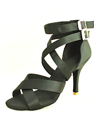 cheap -Women's Latin Shoes / Salsa Shoes Satin Sandal Buckle Customized Heel Customizable Dance Shoes Yellow / Fuchsia / Purple