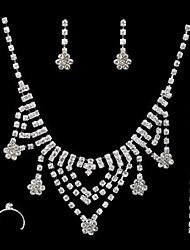 Femme Strass Mariage Soirée Occasion spéciale Fiançailles Strass Alliage Anneaux Boucles d'oreille Colliers décoratifs Bracelets