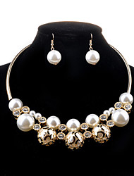 cheap -Women's Jewelry Set Necklace/Earrings Luxury Fashion Hollow Wedding Party Daily Casual Pearl Imitation Pearl Imitation Diamond Alloy