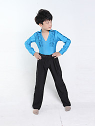 cheap -Latin Dance Outfits Training Performance Polyester Long Sleeves Natural Top Pants