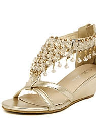 cheap -Women's Shoes Leatherette Summer Platform Wedge Heel Crystal for Casual Silver Gold
