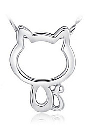 economico -Da donna Gatto Con animale Di tendenza Collane con ciondolo Argento sterling Collane con ciondolo , Matrimonio Feste Quotidiano Casual