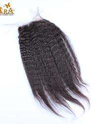 """Недорогие -10""""-20"""" Черный Полностью ленточные Прямые Человеческие волосы закрытие Умеренно-коричневый Chinese Lace 60g/piece грамм Размер крышки"""