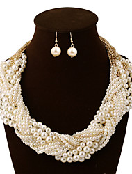 cheap -Women's Pearl Jewelry Set Earrings Necklace - Vintage Party Work Casual Multi Layer Bridal Statement European Jewelry Jewelry Set