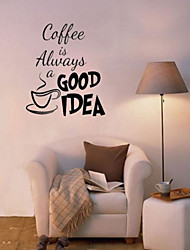 cheap -Coffee Is Alway Glass Window Cafe Wall Stickers