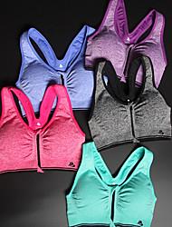 abordables -Espalda Cruzada Sujetadores de Deporte Acolchado Sujeción Media Para Yoga / Running / Fitness - Gris / Rosa Secado rápido, Listo para vestir, A Prueba de Golpes Mujer Chinlon, Poliamida