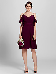 cheap -A-Line Spaghetti Strap Knee Length Chiffon Bridesmaid Dress with Criss Cross by LAN TING BRIDE® / Open Back