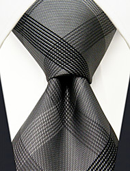 cheap -SXL1 Classic Dress Men's Neckties Gray Checked 100% Silk Business Handmade New