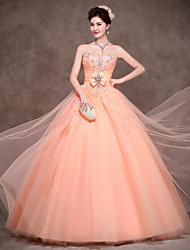cheap -Ball Gown Princess Strapless Floor Length Polyester Satin Tulle Formal Evening Dress with Bow(s) Crystal Detailing Lace Sash / Ribbon by