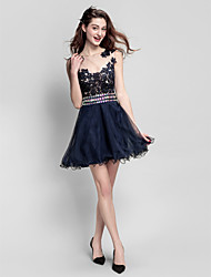 cheap -A-Line Jewel Neck Short / Mini Tulle Homecoming Prom Company Party Dress with Beading Lace by TS Couture®