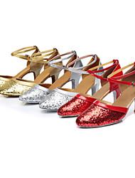 Damer Moderne Paillette Sneaker Træning Begynder Professionel Indendørs Pailletter Sløjfe Snørebånd Udhulning Cubanske hæle Rød Sølv