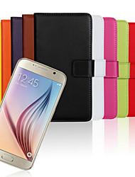 tanie -Kılıf Na Samsung Galaxy Samsung Galaxy Etui Portfel / Etui na karty / Z podpórką Pełne etui Solidne kolory Prawdziwa skóra na S6