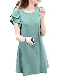 baratos -Mulheres Clássico Solto Vestido - Estilo Moderno, Côr Sólida