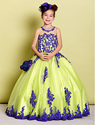 Ball Gown Floor Length Flower Girl Dress - Tulle Sleeveless Jewel Neck by LAN TING BRIDE®