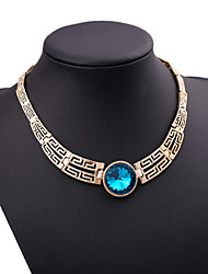 cheap -Women's Statement Necklace  -  Cubic Zirconia Luxury Yellow, Red, Blue Necklace For Party