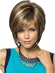 cheap -Women Lady Short Synthetic Hair Wig Pixie Cut wig Short Straight Hair Brown with Blonde Highlights Wig