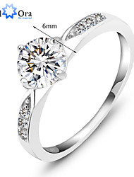 cheap -Genuine 925 Classic Sterling Silver Ring Wedding Ring Jewelry CZ Zircon Sterling Silver Rings