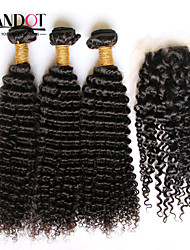 cheap -3 Bundles Mongolian Curly Virgin Hair With Closure Unprocessed Human Hair Weave And Free/Middle Part Lace Top Closure