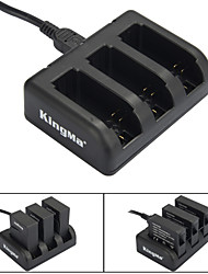 KINGMA  3-Slot Battery Charger for AHDBT-201 / AHDBT-301/ AHDBT-401 / GoPro Hero 3 / 3+ / 4 - Black