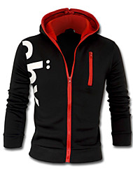Men's Plus Size Sports Casual/Daily Simple Active Hoodie Jacket Letter Cotton Polyester Long Sleeve Spring Fall Winter