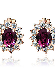 T&C Women's Lovely Purple Crystal Clip-On Earrings Sun Flower 18K Rose Gold Plated Fashion Jewelry