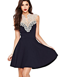 Недорогие -Жен. Классический и неустаревающий А-силуэт Платье - Сплошной цвет, Современный