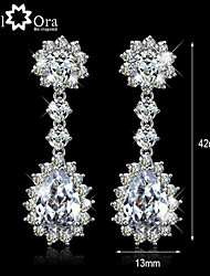 cheap -Wedding Jewelry Charming Earrings Brass with rhodium plated Elegant Women Dangle CZ stone Earrings