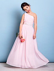 A-Line One Shoulder Floor Length Chiffon Junior Bridesmaid Dress with Beading Sash / Ribbon Side Draping by LAN TING BRIDE®