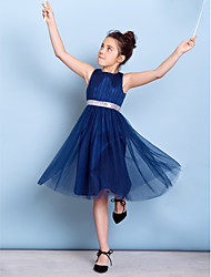 A-Line Jewel Neck Knee Length Tulle Junior Bridesmaid Dress with Draping Sash / Ribbon Sequins by LAN TING BRIDE®