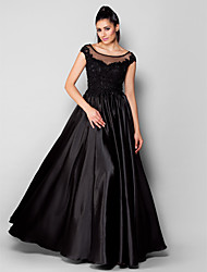 cheap -A-Line Princess Scoop Neck Floor Length Stretch Satin Formal Evening Dress with Beading Appliques by TS Couture®