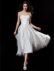 Linea-A Senza bretelline Asimmetrico Raso Tulle Vestito da sposa con Con applique Con ruche di LAN TING BRIDE®