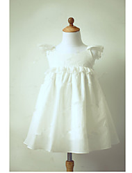 cheap -A-Line Tea Length Flower Girl Dress - Taffeta Short Sleeves Jewel Neck with Sash / Ribbon Pleats by LAN TING BRIDE®