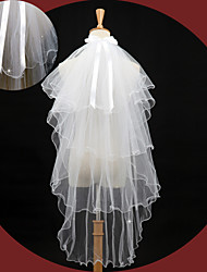 Hochzeitsschleier Vier-Schichten Ellbogenlange Schleier Gebündelter Rand 43,31 in (110cm) Tüll Spitzen Eifenbein
