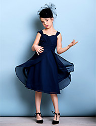 cheap -A-Line Straps Knee Length Chiffon Junior Bridesmaid Dress with Sash / Ribbon Criss Cross Ruching by LAN TING BRIDE®