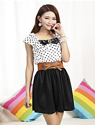 cheap -Women's Chic & Modern Butterfly Sleeve A Line Dress - Polka Dot Color Block Dots Cute, Polka Dots