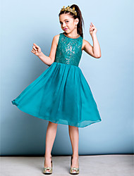 cheap -A-Line Jewel Neck Knee Length Chiffon Sequined Junior Bridesmaid Dress with Sequins by LAN TING BRIDE®