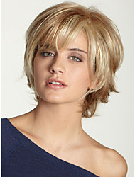 cheap -Fluffy Beautyful High Quality Capless Short Wavy Mono Top Human Hair Wigs Twelve Colors to Choose