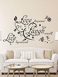 Недорогие -наклейки для стен стены стиль наклейки любовь смех живые английских слов& цитирует наклейки ПВХ стены