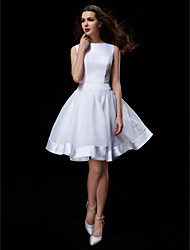 cheap -A-Line Bateau Neck Knee Length Organza / Satin Made-To-Measure Wedding Dresses with Bowknot / Sash / Ribbon by LAN TING BRIDE®