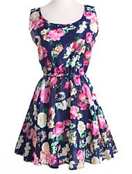 Damen Kleid - A-Linie / Swing Leger Solide / Druck Mini Chiffon Rundhalsausschnitt