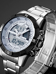 cheap -Men's Sport Watch / Dress Watch / Wrist Watch Japanese Alarm / Calendar / date / day / Chronograph Stainless Steel Band Silver / Water Resistant / Water Proof / Luminous / LCD / Dual Time Zones