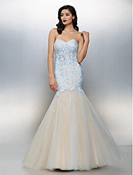 Fit & Flare Sweetheart Floor Length Lace Tulle Formal Evening Dress with Lace by TS Couture®
