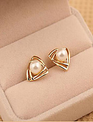 Women's Stud Earrings Costume Jewelry Pearl Imitation Pearl Alloy Geometric Triangle Shape Jewelry For