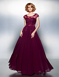 cheap -A-Line Illusion Neckline Floor Length Chiffon Formal Evening Dress with Beading Appliques Buttons by TS Couture®