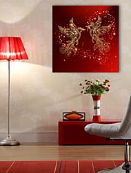 E-HOME® Stretched LED Canvas Print Art  Phoenix Bird LED Flashing Optical Fiber Print