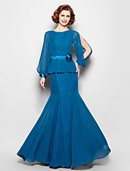 cheap -Mermaid / Trumpet Jewel Neck Floor Length Chiffon Mother of the Bride Dress with Sash / Ribbon / Flower by LAN TING BRIDE® / Bishop Sleeve